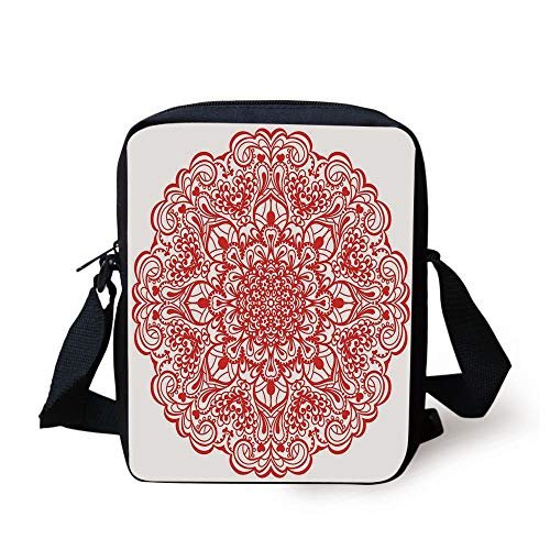 Red Mandala,Arabesque Lace Inspired Motifs Flourishing Nature Ornate Curves and Swirls Decorative,Orange Print Kids Crossbody Messenger Bag Purse - Antique Lace Top