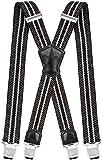 Decalen Hosenträger für Herren Breit 4 cm mit sehr Starken 4 Metall Clip Lang Einheitsgröße für Männer und Damen Einstellbar und Elastisch X Style (Grün Beige Schwarz)