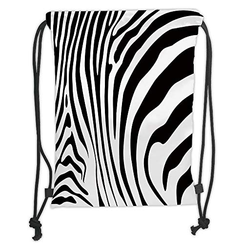 Drawstring Backpacks Bags,Zebra Print,Zebra Animal Skin Pattern Nature Desert Life Theme Simple Stylish Illustration Decorative,Black White Soft Satin,5 Liter Capacity,Adjustable S -