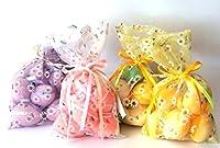 Idea Pasqua: Addobbo pasquale 4 sacchetti di organza colorata con 5 uova di pasqua; oggetto decorativo; 4 colori assortiti