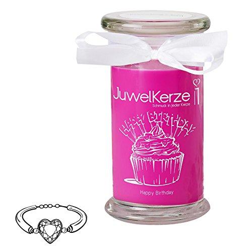 JuwelKerze Happy Birthday - Große Duftkerze mit Schmuck Überraschung - Geburtstagsgeschenk für...