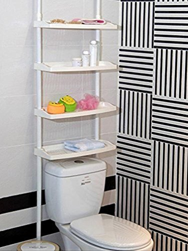 DiscountDealer2015 4 TIER KITCHEN BATHROOM STORAGE SHOWER CADDY SHELF SHELVES UNIT ADJUSTABLE HEIGHT NO SCREWS REQUIRED by DiscountDealer2015