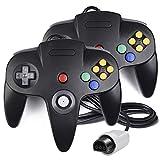 2Stück N64Controller, innext Classic Draht N6464-Bit Game Pad Joystick für Ultra 64Video Game Konsole N64System Mario Kart (Schwarz)