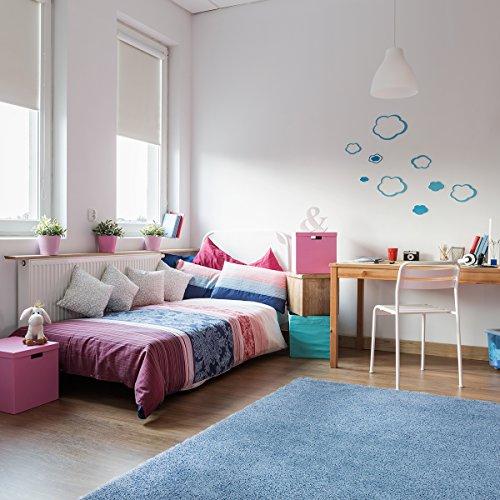Wohn-jute (Hochflorteppich Shaggy Sensation - Farbe wählbar   schadstoffgeprüft pflegeleicht strapazierfähig   für Fußbodenheizung geeignet   ideal für Wohnzimmer Schlafzimmer Gästezimmer und Kinderzimmer, Farbe:Baby-Blau, Größe:80 x 150 cm)