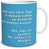 Tasse Pusteblume mit Spruch Lustig Gestern und Morgen, Geschenk für Gute Freunde Beste Kollegin, Weiß Türkis, 300 ml