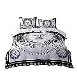 Sophia Art psychédélique céleste Soleil Lune Mandala Housse de Couette Indienne Sun Hippie Parure de lit Noir et Blanc Couette (Queen)