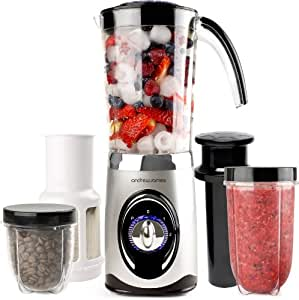 Andrew James 4 in 1 Multifunktionaler 1L Smoothie Maker + 1.5L Blender, Mhle und Entsafter In Silber