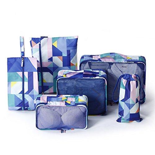 Tuscall Kleidertaschen Set, Packtaschen für Koffer 6-teiliges Ultra-leichte Koffer Organizer set für Reise, Seesäcke, Handgepäck und Rucksäcke (Geometrie)