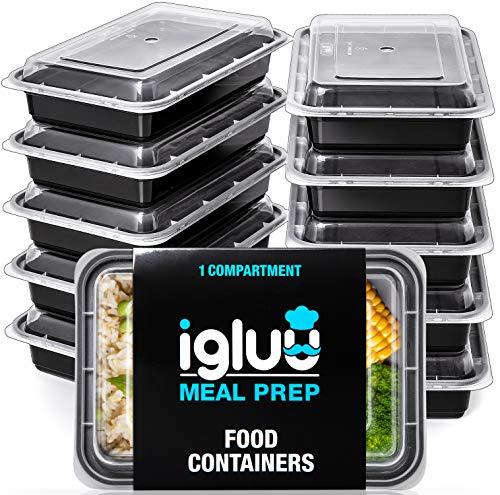 Contenitori per alimenti ermetici di 1 scomparto (set di 10) - recipienti di plastica senza bpa e impilabili - scatole bento riutilizzabili per il cibo - adatti a microonde, freezer e lavastoviglie
