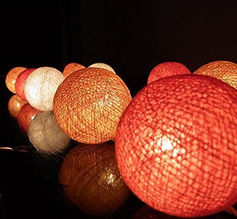 20/Set Classique Boule Coton Léger Blanc Orange Pour Noël Parti