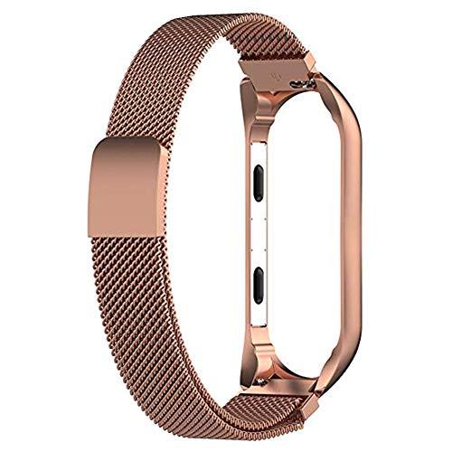 Shuda Xiaomi Mi Hirse Armband 3 Ersatz-Armbanduhr- aus Metall Wasserdicht,Verstellbar, Fitness-Armband, Zubehör für Xiaomi Mi Band 3 (Rose Gold)