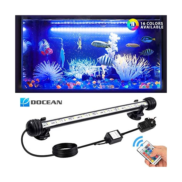 DOCEAN LED Aquarium Lights, Multi-color Waterproof Fish Tank Light RGB Underwater Submersible Lights Suitable for…