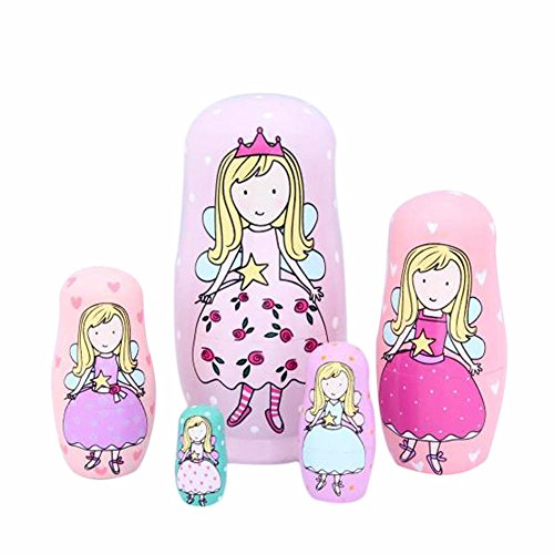 Domeilleur 5 Schichten Kinder Spielzeug Prinzessin Russian Nesting Dolls Holz Matroschka Puppe Handarbeit Handwerk Fairy Mädchen Spielzeug Kind Geschenke