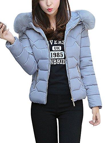 LaoZan Damen Steppjacke Winter Jacke Warm Mantel Kurzjacke Wintermantel Übergansjacke Elegant Regular Fit Grau