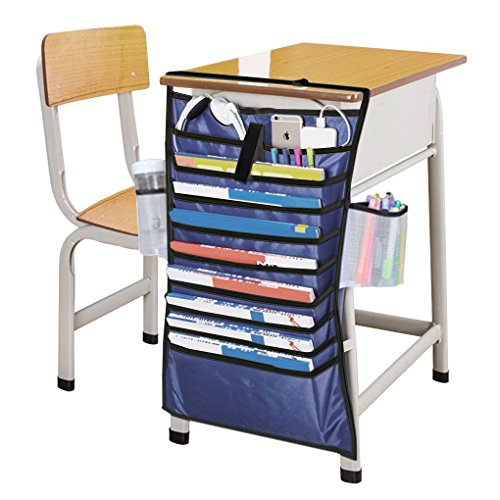MSE Heavy-duty Home Office School Desk Table Hanging File Book Newspaper Magazine Tidy Organizer Rack Pockets Students Textbooks Pens Stationery Desktop Display Space-saving Holder Storage Bag