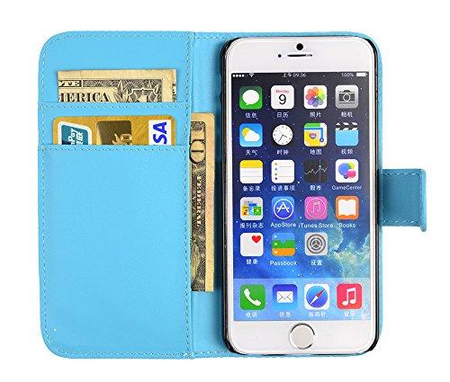 gada - Handyhülle für Apple iPhone 6 Elegante Leder-Imitat Tasche Wallet mit Magnetverschluss und Ständerfunktion - Weiß Hellblau
