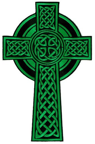 Celtic Cross Aufnäher zum Aufbügeln Grün bestickt Relgious Gaelic Irisch Kruzifix