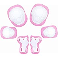 Set di protezioni per bambini, KUYOU Regolabili per sport all'aria aperta 6 pezzi Protezioni per ginocchia e gomiti con protezioni per il polso per bambini per sicurezza multi-sport (rosa)