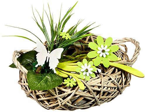 Heitmann Deco - Rattan-Tischdeko mit Holz-Blumen, Schmetterling und Deko-Gras - Tischdeko für Frühling und Ostern