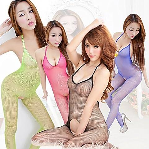 ZQY Terrazza aperta kit della mammella la tentazione di seta nera prospettiva nelle calze di seta temperamento e sexy anche ruotando calze web rose red