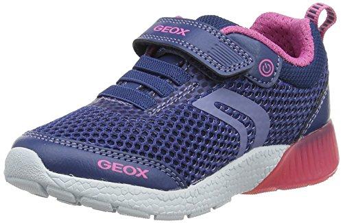 Geox Mädchen J Sveth A Low-Top Sneaker, Blau (Avio/Fuchsia), 30 EU