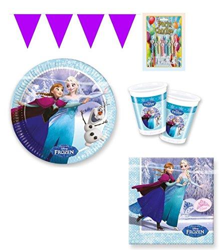 Partyset Partygeschirr 38 tlg. Disney Frozen Ice Skating Die Eiskönigin Elsa & Anna (8 Teller, 8 Becher, 20 Servietten, 1 Mini Wimpelgirlande, 1 Geburtstagskerzenset)Kinderparty Geburtstag