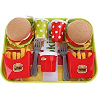 UMKYTOYS Pretend Food Toys Set With Tray Burger Playset