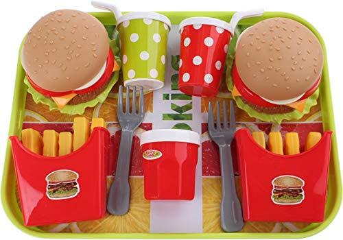 UMKYTOYS Pretend Food Toys Set With Tray Burger Playset