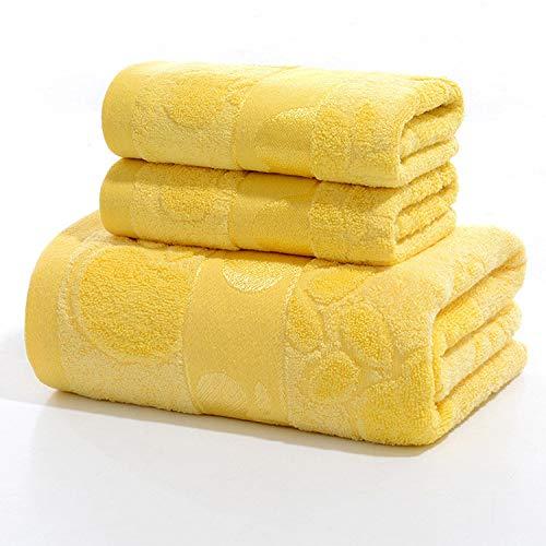 Bad Seidig-weiche Haut Glatter (Hochwertige Bambusfaser weiche und glatte hautfreundliche Haushaltstuch Bad Dreiteiliger Anzug 2X Handtuch in verschiedenen Größen, 1X Badetuch gelb)