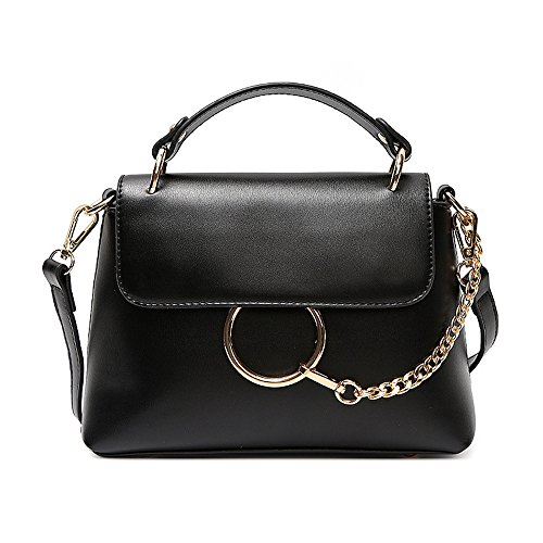 GWQGZ Mode Reine Farbe Ring Handtasche Neuer Stil Einfaches Temperament Umhängetasche. Schwarz (Ring-stil-handtasche)