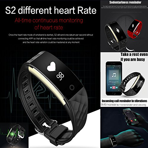 KUNFO Promemoria Bluetooth smart Guarda IP67 intelligente Bracciale impermeabile monitor di frequenza cardiaca di sport Wristband Fitness Tracker Multi-Sport Modalit Health Monitor Pedometro chiamata Messaggio per IOS Android Phone (Bianco)