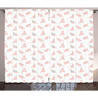 BHWYK Kangaroo Curtains, Nursery Concept Raining Heart Over Fluffy Mother and Baby Animals, Living Room Bedroom Window Drapes 2 Panel Set,Seafoam and Rose,110 W X74 L inch