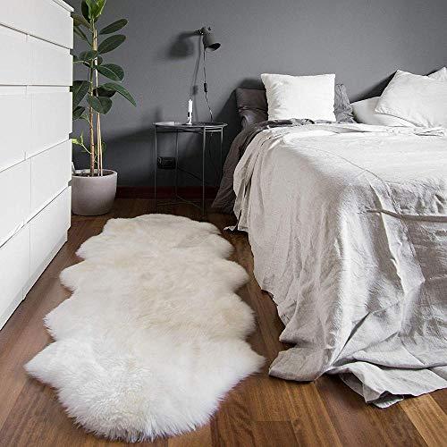 Verziert Faux Pelz (Rmckj Australien Schaffell Teppiche Rein Natürlich Wolle Pelz Sofa Sessel Sitzpolster Abdeckung Weich Flauschige Fleece-matten rutschfest Bedside Teppiche,White-60x180cm(24x71inch))