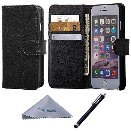 iPhone 6s / 6 Hülle, Wisdompro® Premium PU-Leder 2-in-1 [Folio Flip Wallet] Schutzhülle mit Kreditkartenhaltern / Steckfächern und Handgelenkschlaufe für Apple 4,7 Zoll iPhone 6s / 6 (Schwarz mit Trag Schwarz ohne Lanyard