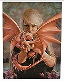 Fantastisches Anne Stokes Design - Dragon-Kin - eine gotische Engel, der einen Haustier Drache - Leinwand Bild auf Bild-Wand-Plakette / Wand Kunst