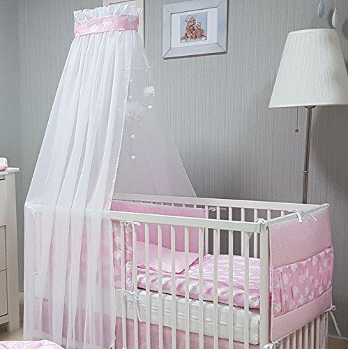 Babymajawelt® Baby Bettwäsche Set, Bett Set 5 TEILE, VOILE fürs BABYBETT 70x140 cm, Bettwäsche 100x135, Nestchen, Himmel Voile (Baldachim, Moskito) (BiG DREAM rosa)