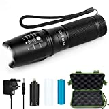LED Torch, Six Foxes Adjustable Focus 2500LM Zoomable L2 Rechargeable LED Flashlight, Super