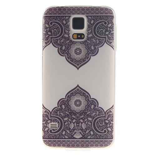 Coque Samsung Galaxy S5, Téléphone étui pour Samsung Galaxy S5, Anlike Flexible protection en Soft TPU Silicone Shell Etui Housse de Protection Coque Etui Silicone Transparente housse etui case cover pour Samsung Galaxy S5 (5,1 pouces) - fleur rétro