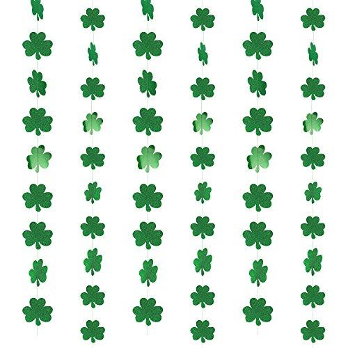 Howaf Glitter Kleeblatt Deko String Deckenhänger Garland Dekoration (39.37 ft, 57Shamrocks) für St. Patricks Day Party ()