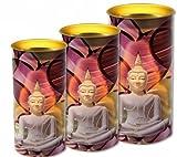 Phoenix Import 2x Meditation Buddha Kerzen 14cm hoch Devotion Kerze 62Stunden Brenndauer