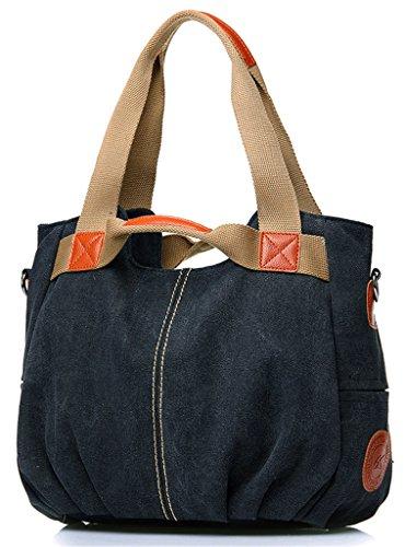 ERGEOB Damen Canvas Handtasche Schultertasche grau 03 schwarz