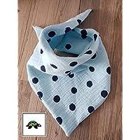 Halstuch - Dreieckstuch Baby hellblau große Punkte aus Musselin