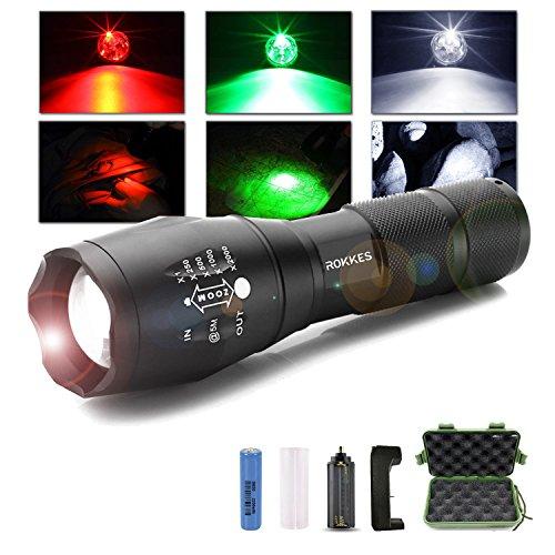 rokkes Akku LED Handheld Taschenlampe, Zoombar, wiederaufladbar, professionelle Ultra Bright 1500Lumen aus 3CREE LEDs Taschenlampe, RGB 3Farben Licht, Tactical tragbar Taschenlampen mit 18650