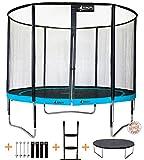 Kangui - Trampoline de jardin 305 cm + filet de sécurité + échelle + bâche de protection + kit d'ancrage PUNCHI ATOLL