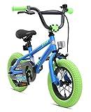 BIKESTAR Freestyle Sicherheits Kinderfahrrad 12 Zoll für Mädchen und Jungen ab 3-4 Jahre ★ 12er Kinderrad Kinder BMX ★ Fahrrad für Kinder Blau & Grün