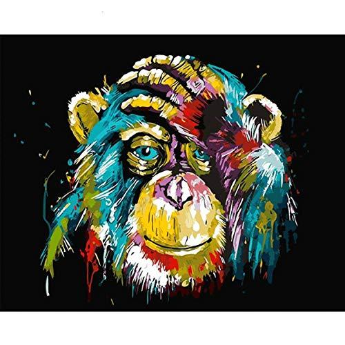 SPORTNET DIY Vorgedruckt Leinwand Malen Nach Zahlen für Kinder, Studenten, Erwachsene Anfänger - Bunter AFFE 16x20 Zoll mit Pinsel und Acrylpigment