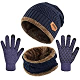 Tuopuda Men Women Hat Scarves Gloves Set Thermal Winter Warm Knitted Beanie Hat Neck Warmer and Touchscreen Gloves