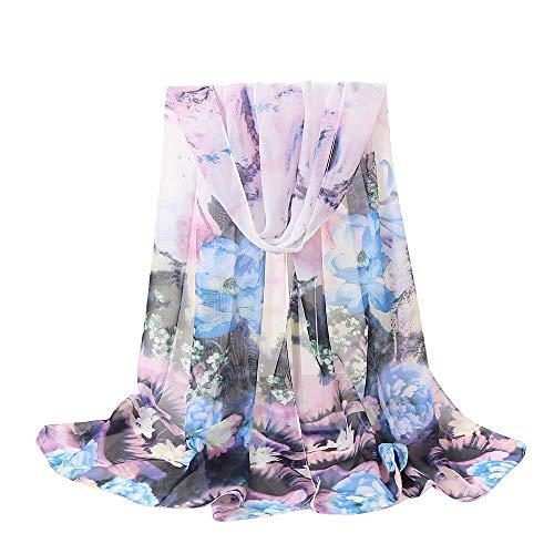 Xmiral Damen-Schal-Chiffon- Blumen die netten beiläufigen Partei-langen weichen Verpackungs-Schal-Schal drucken(Violett)