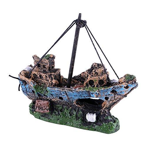 Aquarium Aquaristik Schiff Deko Schiffswrack Disch Höhle Dekorationen Kunstharz Wasser Ornament Boot Landschaftsbau Piratenschiff Thematisch