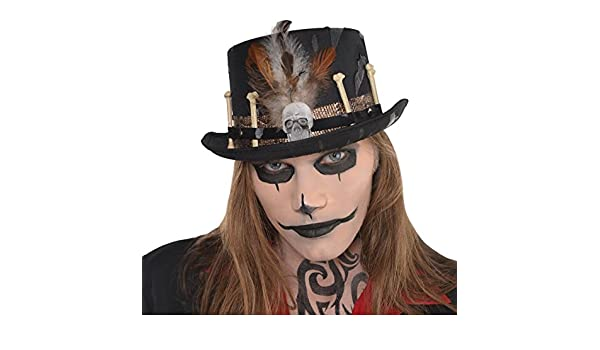 Adults Witch Doctor Voodoo Top Hat Facilier Fancy Dress Skull Bones Halloween UK